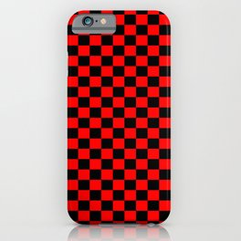 Red Black Checker Boxes Design iPhone Case