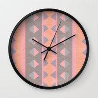 montana Wall Clocks featuring Montana Weave by The Velvet Owl Design Studio