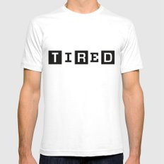 Tired Magazine SMALL White Mens Fitted Tee