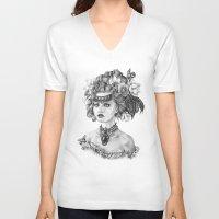 fleur de lis V-neck T-shirts featuring Fleur De Lis by April Alayne