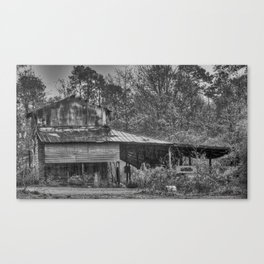 Old Barn in the Rain - Black & White Canvas Print