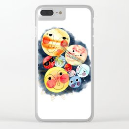 Planet Friends - Kids Universe Galaxy Outerspace Solar System Watercolor Clear iPhone Case
