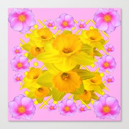 Yellow Daffodils & Pink Roses Abstract Canvas Print
