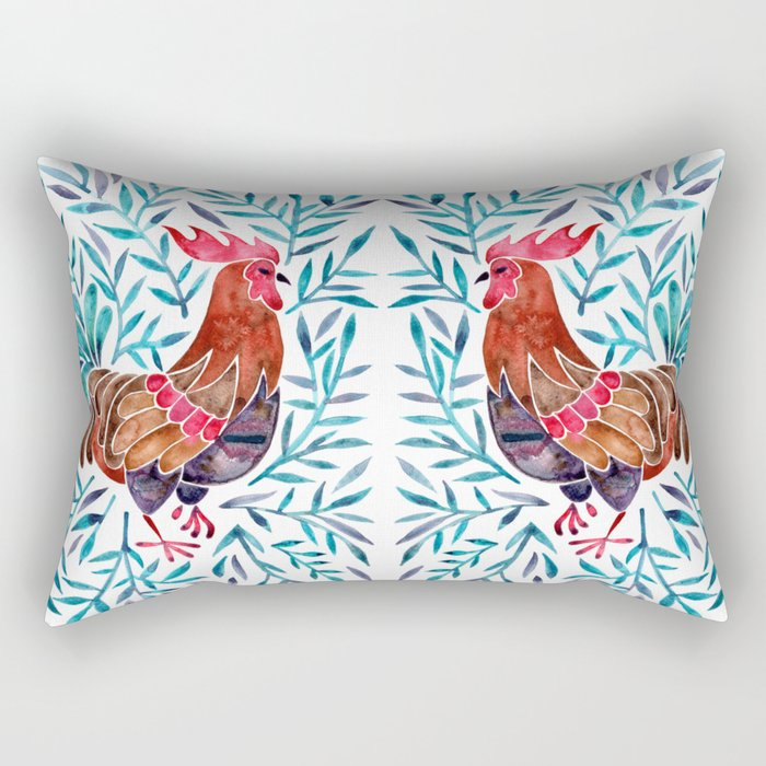 Le Coq Watercolor Rooster With Turquoise Leaves Rectangular Pillow