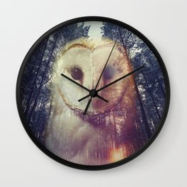 Merge owl and forest reflection Wall Clock