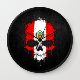 Flag of Peru on a Chaotic Splatter Skull Wall Clock