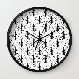 Black and White Modern Cactus and Triangle Geometric Wall Clock