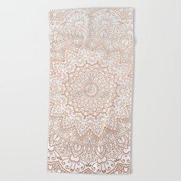 Mandala - rose gold and white marble 3 Beach Towel
