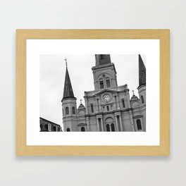 St. Louis Cathedral in Black and White Framed Art Print