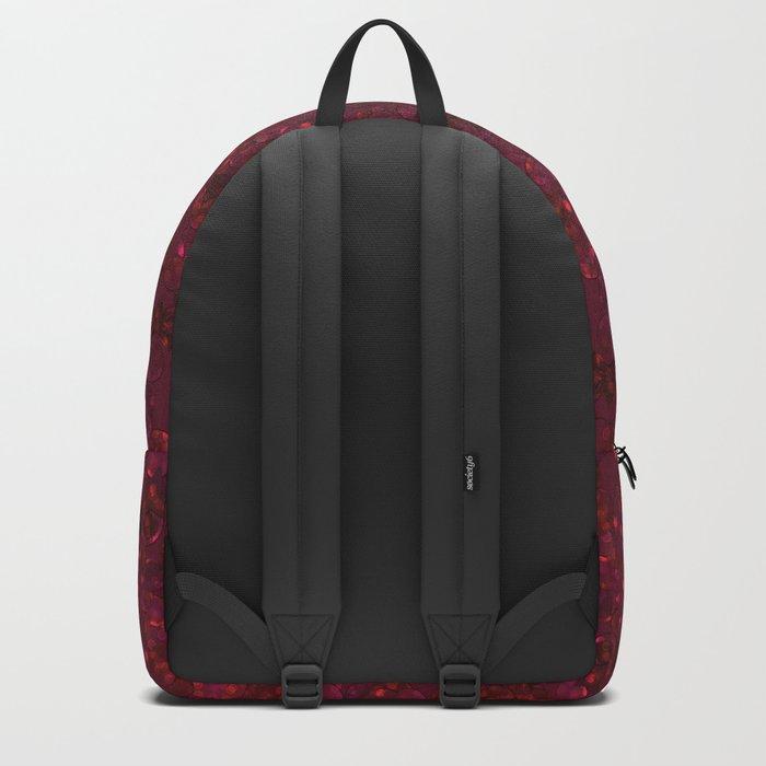Red festive confetti. Red glitter. Backpack
