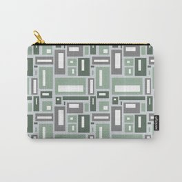 Geometric Rectangles in Sage Green and Gray Carry-All Pouch