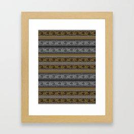 Fret Stripe in Black and Brown Framed Art Print
