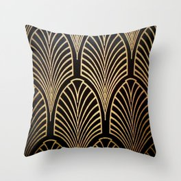 Art nouveau Black,bronze,gold,art deco,vintage,elegant,chic,belle époque Throw Pillow