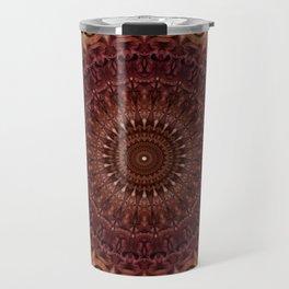 Mandala in brown and red tones Travel Mug
