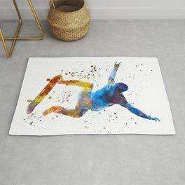 Man skateboard 01 in watercolor Rug