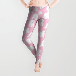 Bichon Frise Pattern (Pink Background) Leggings