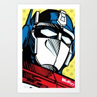 optimus prime Art Prints featuring Optimus Prime by McFlyyOnTheTag