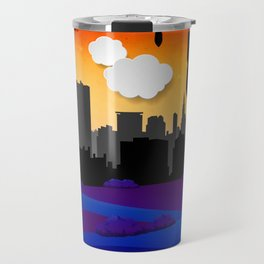 Covert Flowers with Love Bombs dropping in Silhouette Travel Mug