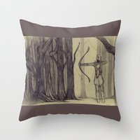 legolas Throw Pillows featuring Legolas LOTR - the noisy silence of woods by Blanca MonQnill Sole