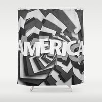 america Shower Curtains featuring America by politics