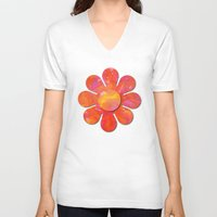 camo V-neck T-shirts featuring Camo flowers by Shelly Bremmer