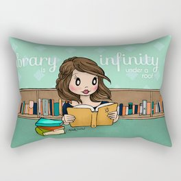 The Library is Infinity Under a Roof Rectangular Pillow