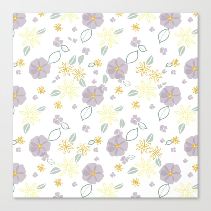Lavender and Yellow Floral Canvas Print