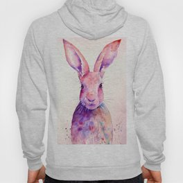 Watercolor Abstract Rabbit Hare blue purple Hoody