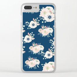 Dog Rose Pattern Clear iPhone Case