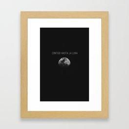 Contigo hasta la Luna Framed Art Print