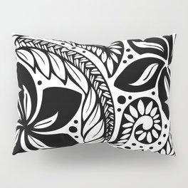 Circular Polynesian Black Floral Tattoo Pillow Sham