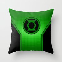 green lantern Throw Pillows featuring Green Lantern by MiliarderBrown