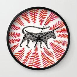 Black Jaguar – Red Leaf Palette Wall Clock