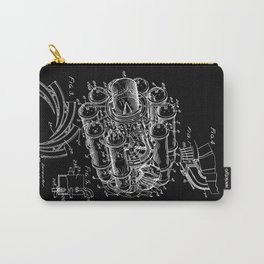 Jet Engine: Frank Whittle Turbojet Engine Patent - White on Black Carry-All Pouch