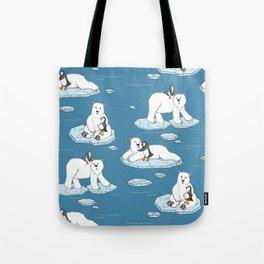 Polar Bear Loves Penguin Tote Bag