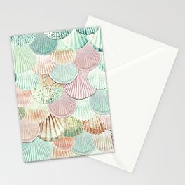 MERMAID SHELLS - MINT & ROSEGOLD Stationery Cards
