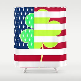 St. Patrick's Day Flag Irish Shamrock American Flag Colors Shower Curtain