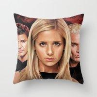 buffy the vampire slayer Throw Pillows featuring Buffy The Vampire Slayer  by SB Art Productions