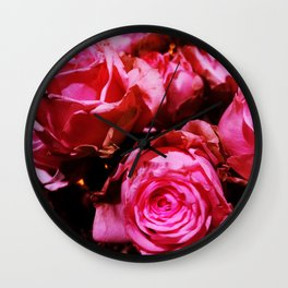 Shabby Chic Brilliant Bright Red Roses Wall Clock
