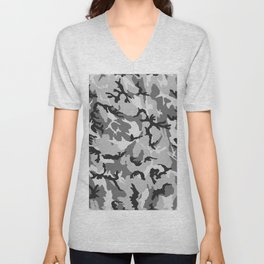 Grey White Black Camouflage Unisex V-Neck