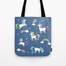 Unicorns and Rainbows - Blue Tote Bag