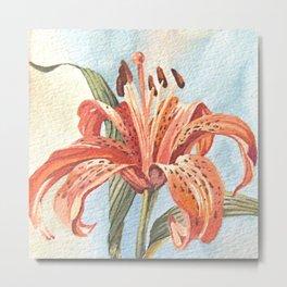 Orange Tiger Lily Watercolor Painting Metal Print