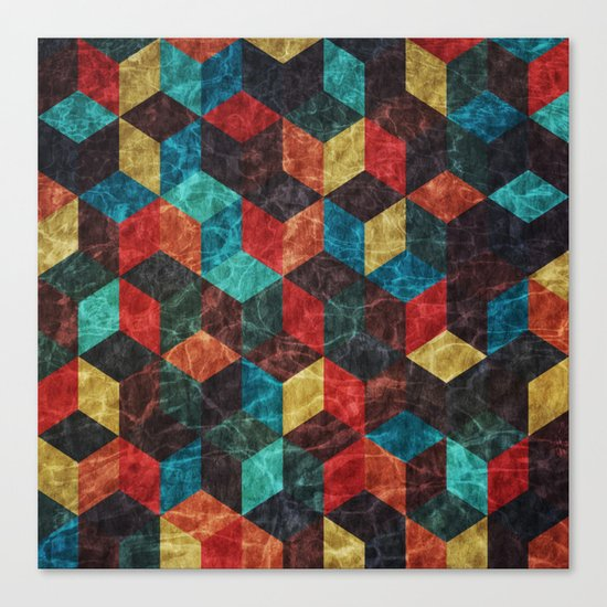 Colorful Isometric Cubes Canvas Print