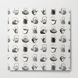 Inky Teapot Pattern Metal Print