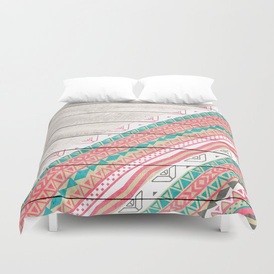 Andes Tribal Aztec Coral Teal Chevron Wood Pattern Duvet