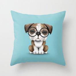 Cute English Bulldog Puppy Wearing Glasses on Blue Throw Pillow