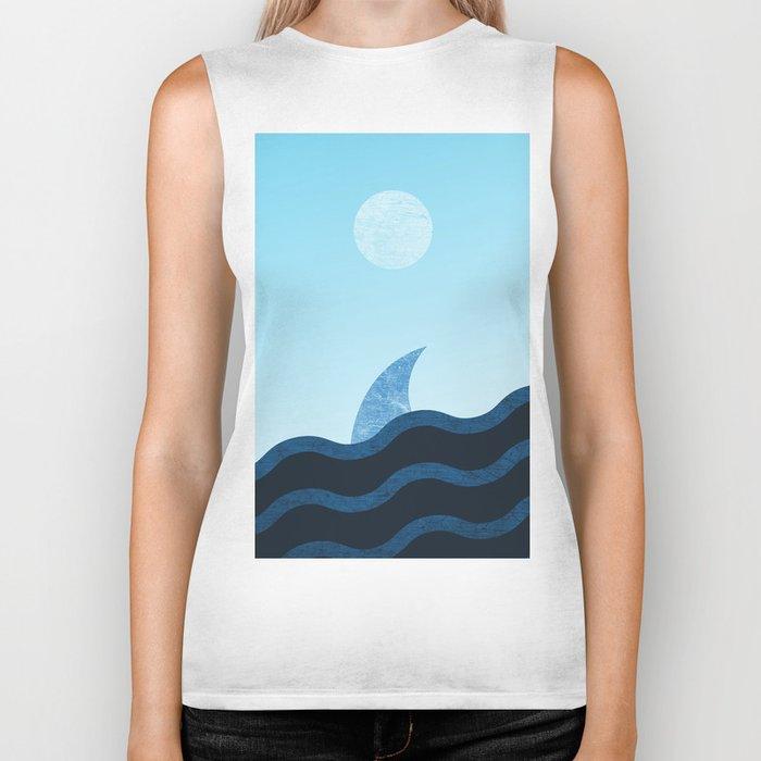 Morning Shark in Sea Waves Biker Tank