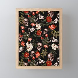 Floral and Skull Dark Pattern Framed Mini Art Print