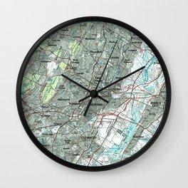 Newark NJ and Surrounding Areas Map (1986) Wall Clock