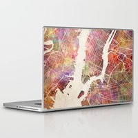 new york map Laptop & iPad Skins featuring New York Map Watercolor by Map Map Maps
